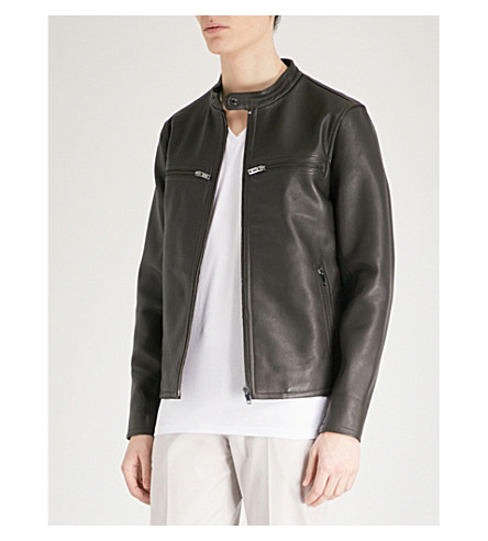REISS Sunset leather jacket (Brown