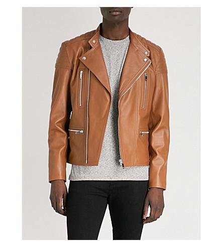 REISS Sully leather biker jacket (Tan