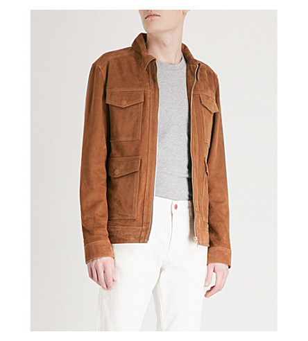 REISS Willoughby suede jacket (Tabacco