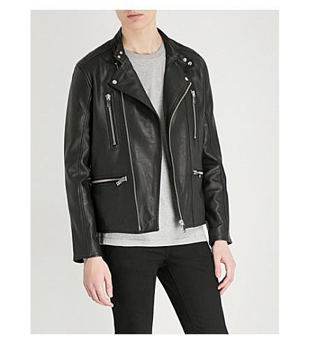 REISS Hemming leather biker jacket (Black