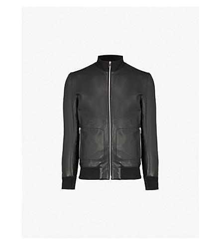 REISS Palace leather bomber jacket (Black