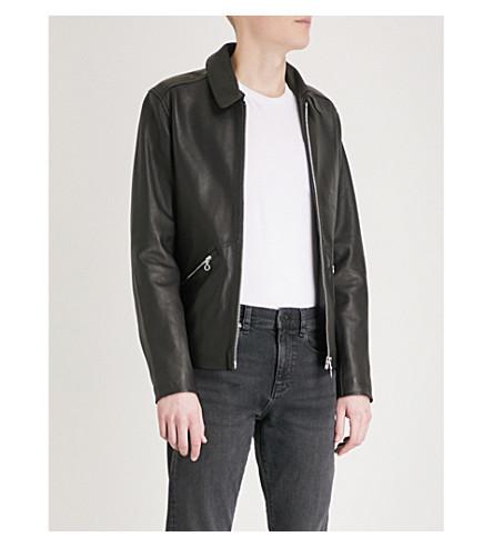 REISS Hudson leather jacket (Black