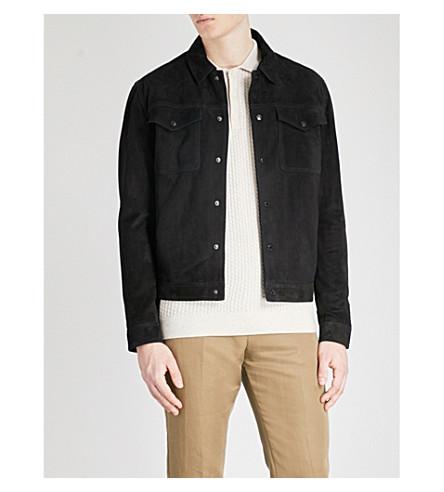 REISS Jagger suede jacket (Black