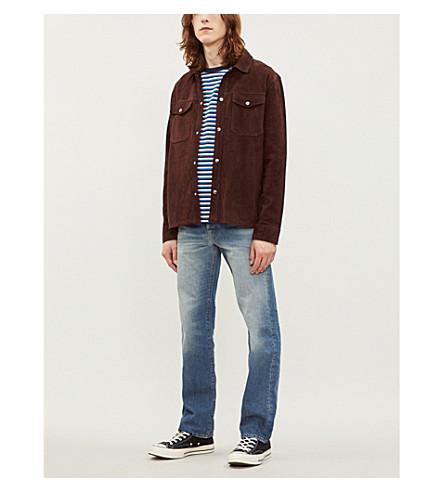 REISS Mick suede shirt (Dark+brown