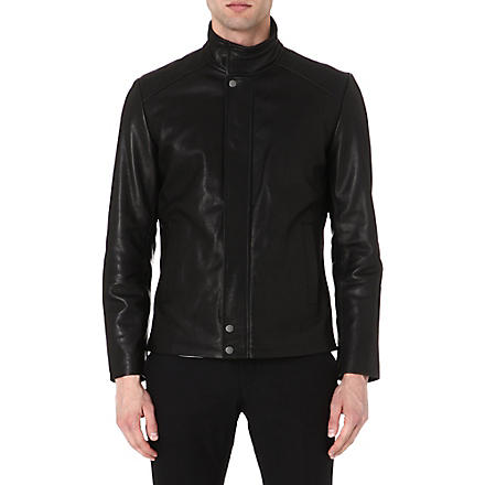 REISS Gentry leather jacket (Black