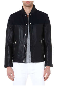 REISS Gilmore leather panel jacket