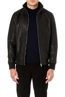 REISS Knowles leather bomber jacket