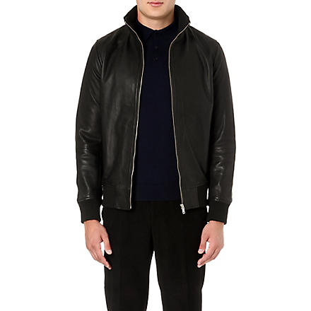REISS Knowles leather bomber jacket (Black