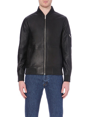 REISS Leather bomber jacket