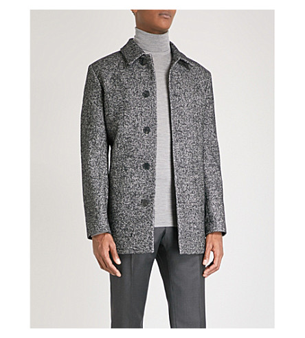 REISS Belvour dogtooth woven overcoat (Black