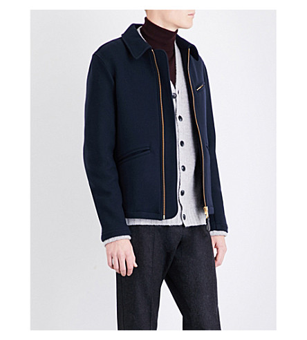 REISS Clandeboyle wool-blend jacket (Navy