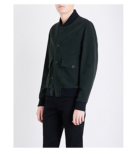 REISS Dragon cotton bomber jacket (Olive