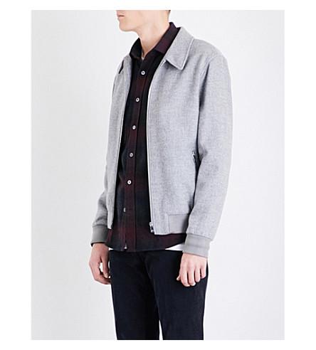 REISS Foxbury wool-blend bomber jacket (Grey