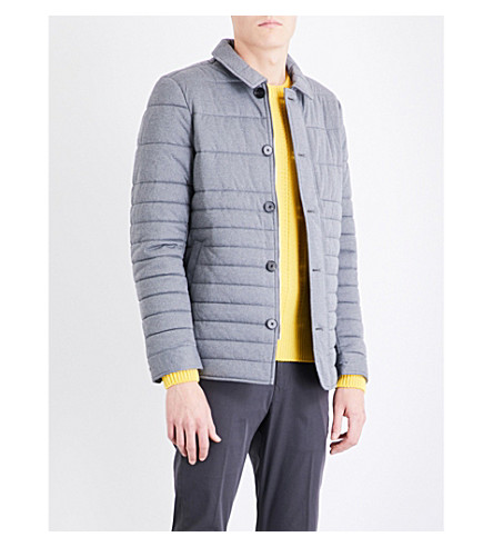 REISS Melbourne quilted shell jacket (Grey+melange