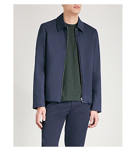 REISS Parisian cotton-blend harrington jacket (Navy
