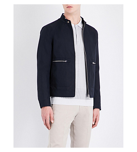 REISS Yukon buttoned-cuff shell jacket (Navy