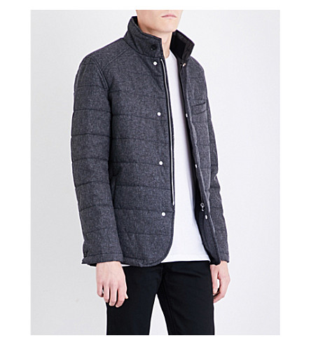 REISS Hemp cotton-blend quilted jacket (Charcoal