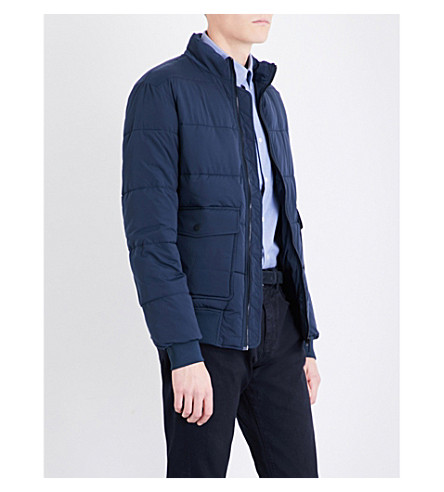 REISS Rider quilted shell jacket (Steel+blue