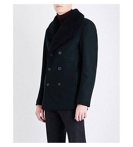 REISS Pangea faux-shearling-collar wool-blend jacket (Green