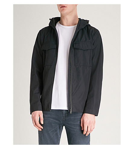 REISS Delphino hooded shell jacket (Navy