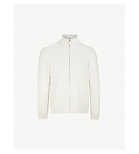 REISS Biasco cotton-blend bomber jacket (Stone