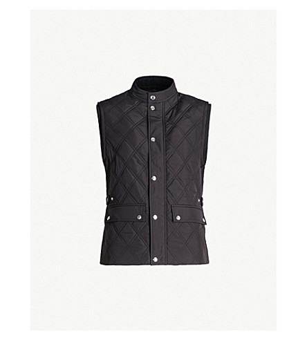 REISS Drake quilted shell gilet (Black