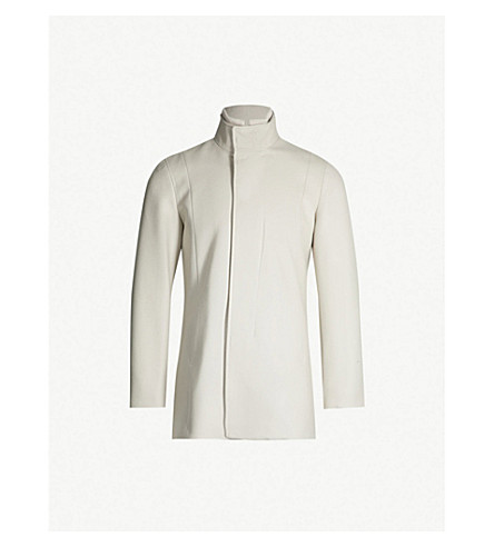 REISS Angelo ribbed-collar wool-blend coat (Taupe