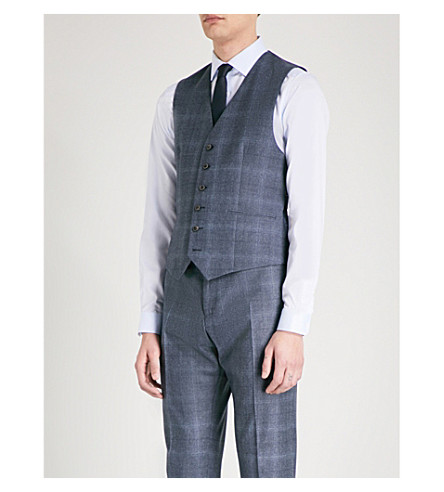 REISS Caine checked modern-fit wool waistcoat (Airforce+blue