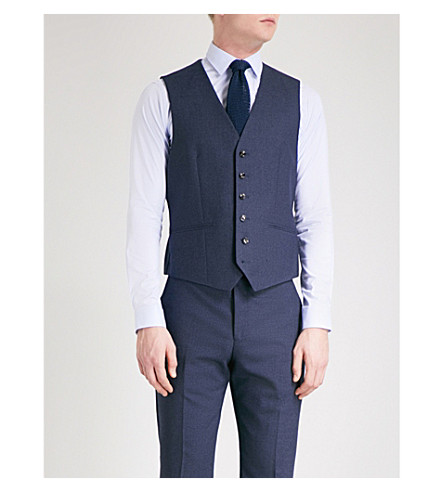 REISS Robin modern-fit wool waistcoat (Airforce+blue