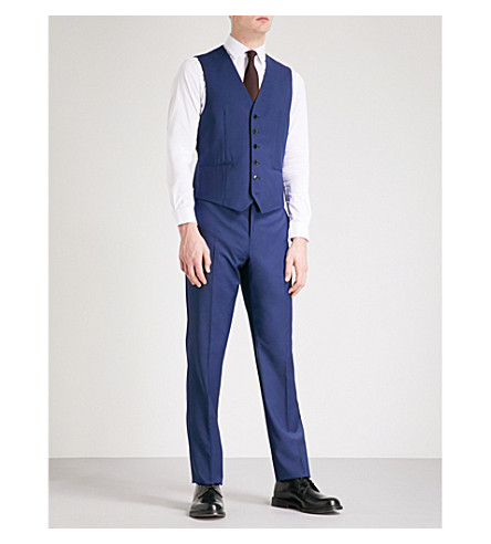 REISS Duchess modern-fit wool-blend waistcoat (Blue