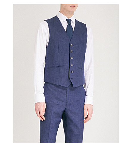 REISS Rover modern-fit wool waistcoat (Bright+blue