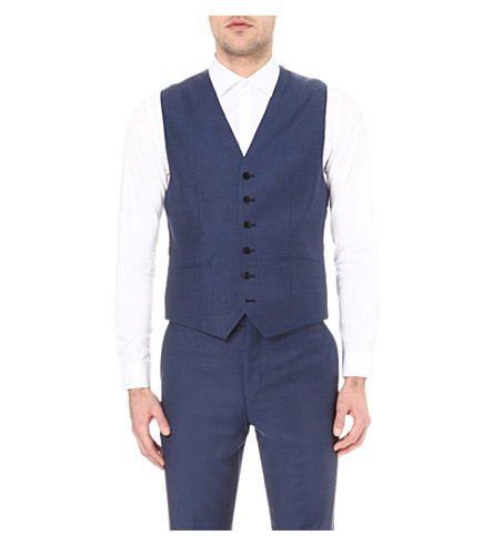 REISS Harry wool waistcoat (Airforce+blue