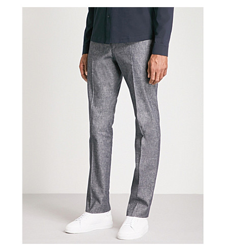 REISS Ashley regular-fit straight-leg cotton-blend trousers (Navy