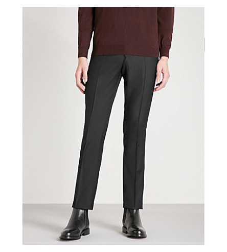 REISS Cardle modern-fit tapered wool-blend trousers (Black