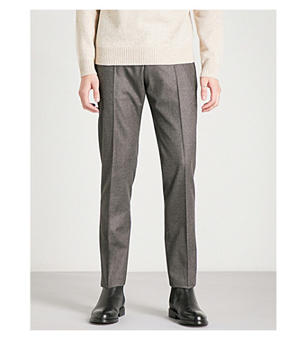 REISS Chianti slim-fit tapered wool trousers (Brown