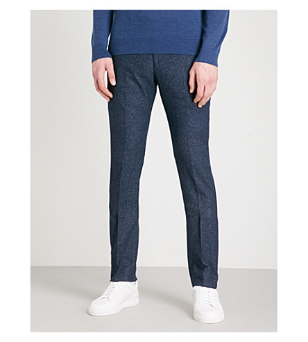REISS Clarence slim-fit tapered cotton-blend trousers (Navy