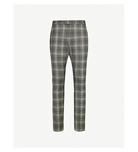 REISS Russell checked modern-fit woven trousers (Charcoal