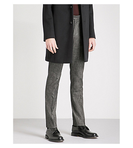 REISS Zang slim-fit tapered brushed cotton-blend trousers (Charcoal