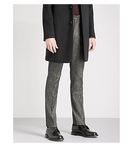 REISS 藏修身版型锥形刷棉混纺裤子 (炭