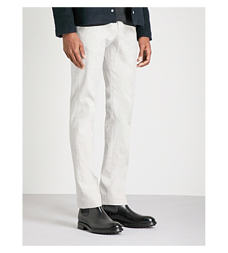 REISS Zang slim-fit tapered brushed cotton-blend trousers (Soft grey
