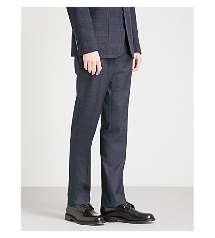 REISS Denza T slim-fit tapered wool and silk-blend trousers (Navy