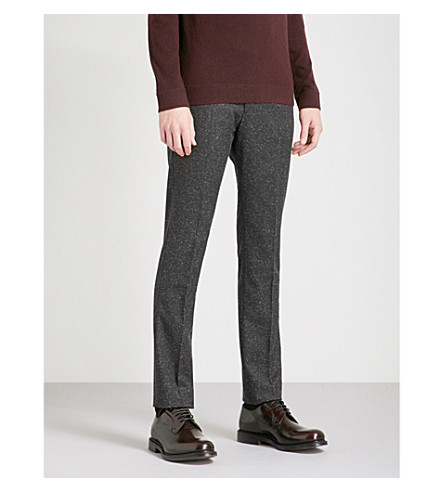 REISS Function slim-fit tapered woven trousers (Charcoal