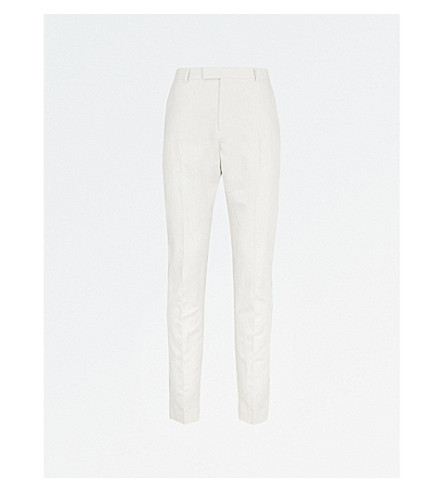 REISS Chilwa cotton and linen-blend trousers (Natural