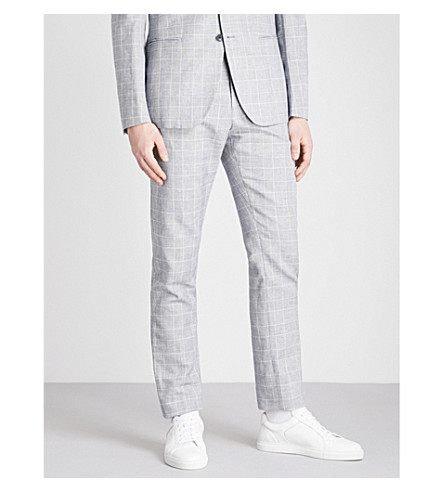 REISS Kray checked slim-fit cotton and linen-blend trousers (Blue