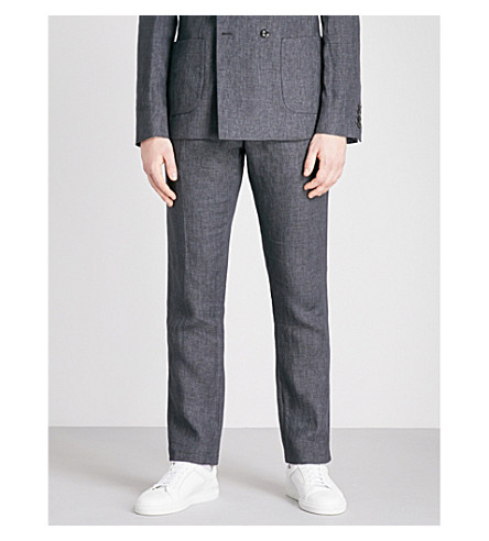 REISS Leach slim-fit linen trousers (Charcoal