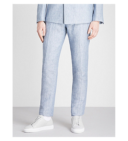 Free Shipping Find Great Online Cheap Price REISS Miami slim-fit linen trousers Soft blue Free Shipping Really c2rXX