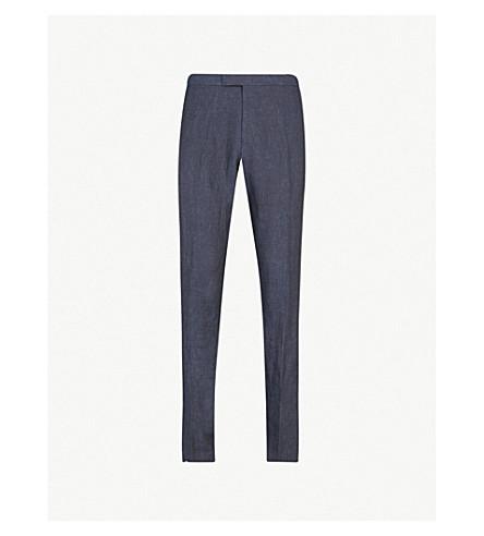 REISS Portofino slim-fit linen trousers (Indigo