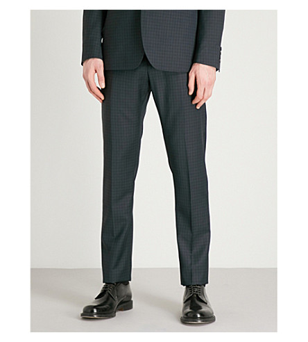 REISS Radley T checked modern-fit wool trousers (Navy