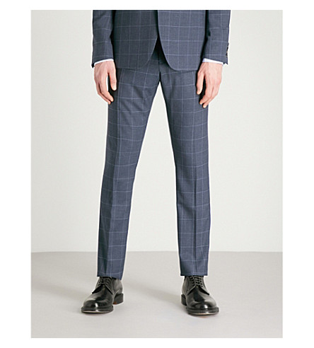 REISS Tremezzo checked slim-fit wool trousers (Airforce+blue
