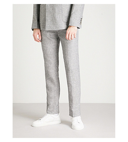 REISS Slim-fit tapered linen and cotton-blend trousers (Grey